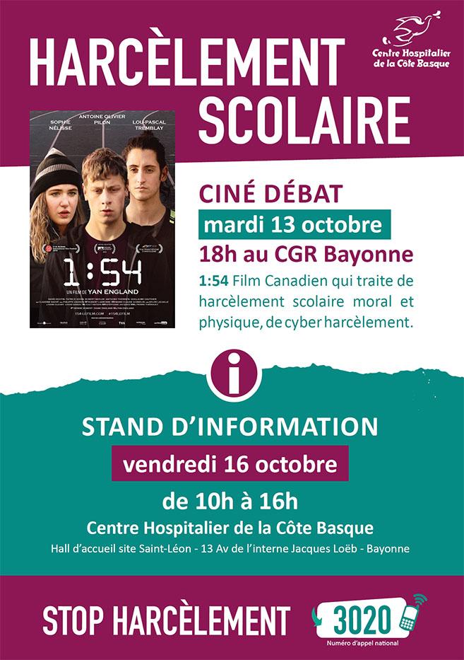 Prévention Harcèlement scolaire : Ciné débat Bayonne 13 octobre