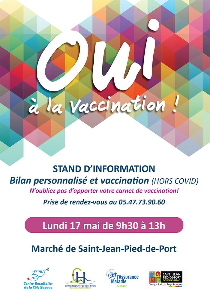 semaine européenne vaccination : Stand d'information Saint-Jean-Pied-de-Port 17 mai