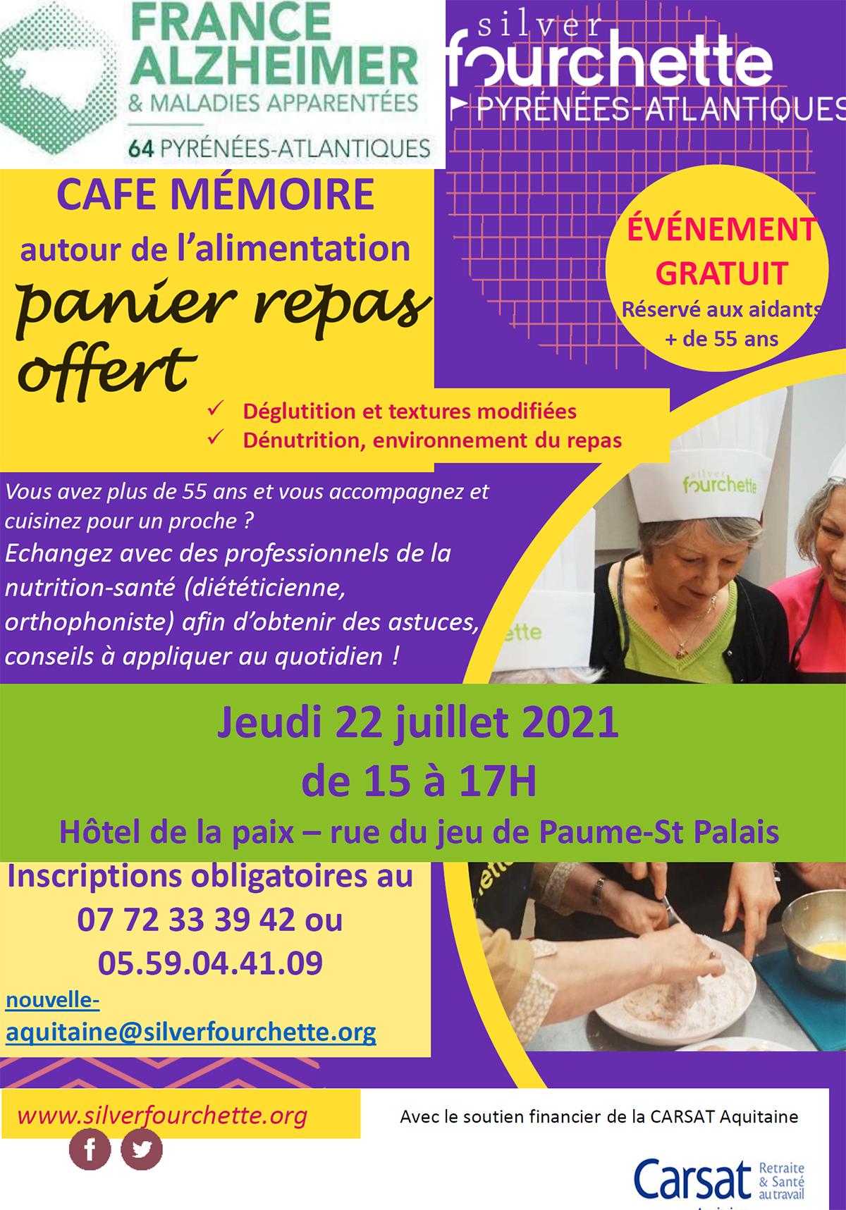 Café mémoire Alimentation Maladie d'Alzheimer Saint Palais 22 juillet