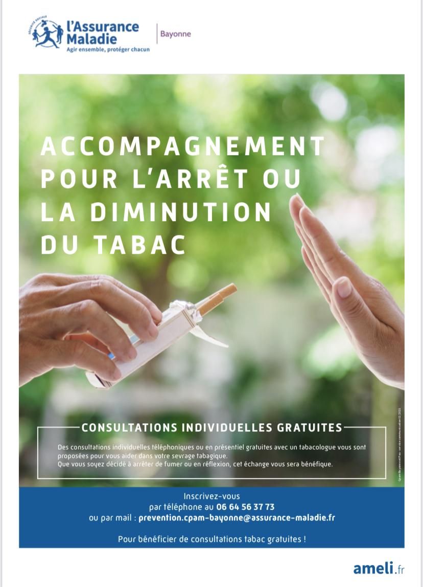Arrêt du tabac consultations individuelles gratuites CPAM Bayonne